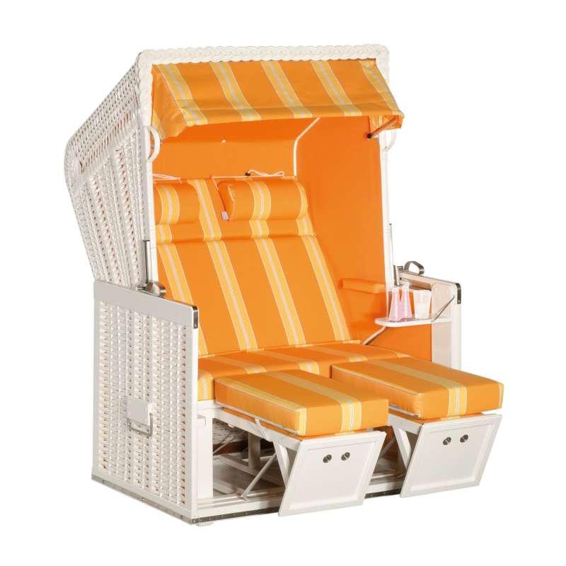 Sonnenpartner Strandkorb Konsul 2-Sitzer Halbliegemodell weiß/mandarin mit Sonderausstattung