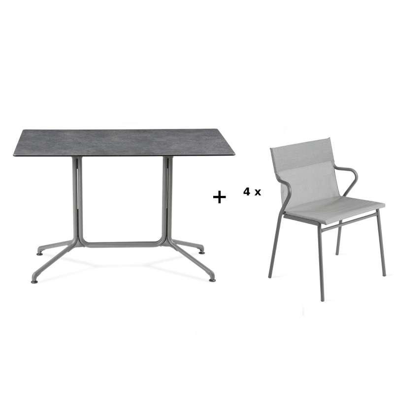 Lafuma Horizon Tisch-Set Loungetisch 115x70x74,5 cm Mineral 4 Stühle Pearl