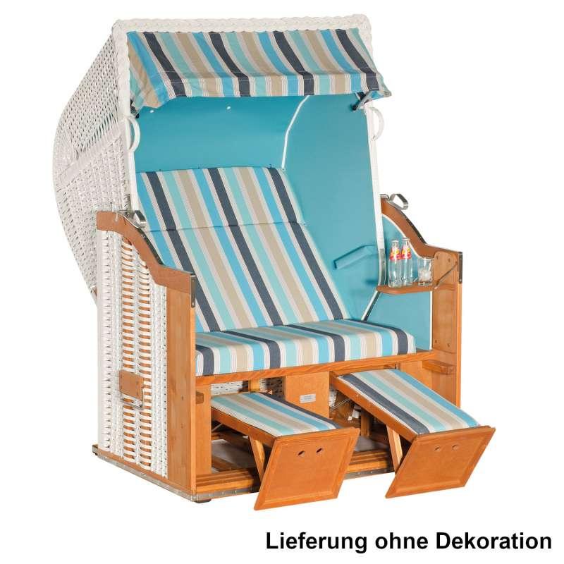 Sonnenpartner Strandkorb Classic 2-Sitzer Halbliegemodell weiß/ocean/türkis