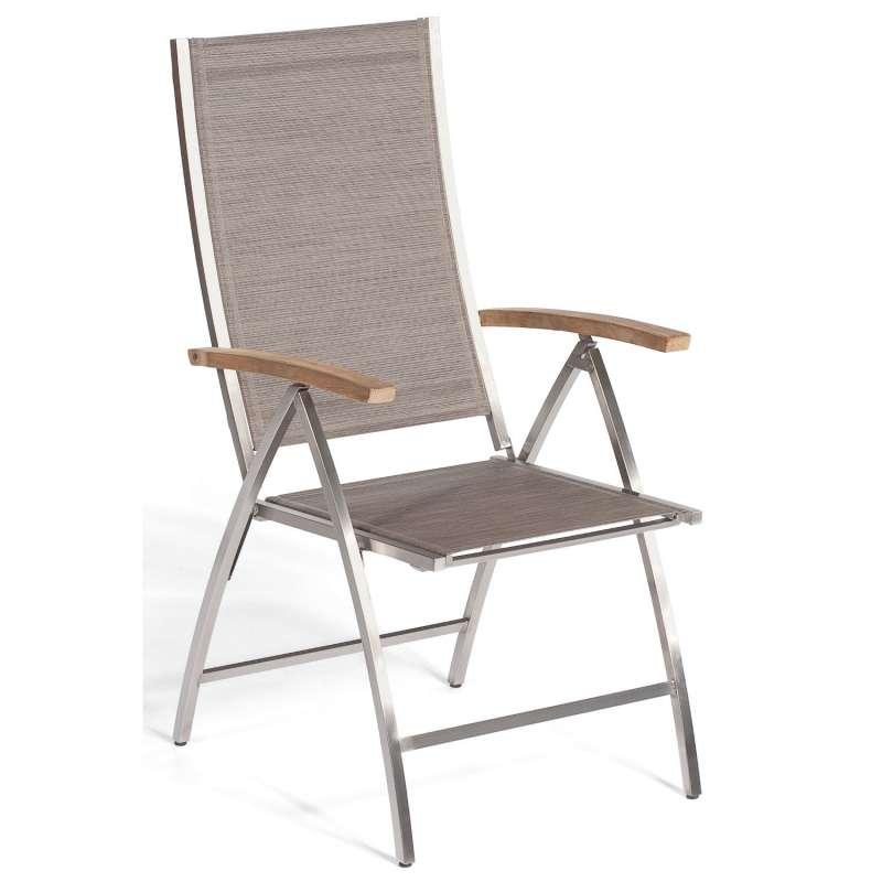 Sonnenpartner Klappsessel Paragon Edelstahl mit Textilen taupe Klapp-Sessel Klappstuhl