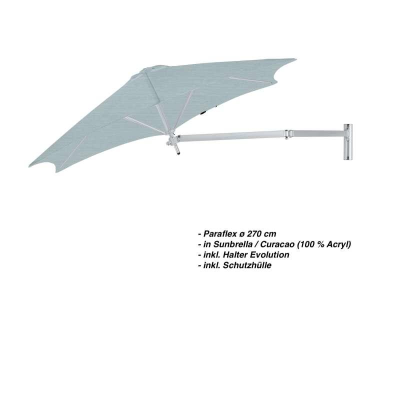 Umbrosa Paraflex ø 270 cm Sonnenschirm Komplettset inkl. Halterung Curacao Wandschirm