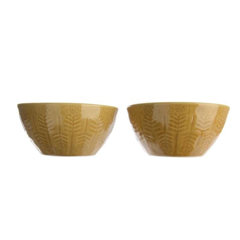 Steingutschale 2er Set praktische Mehrzweckschüssel Ø ca. 13 cm braun