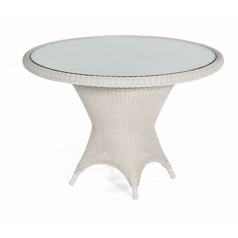 Sonnenpartner Gartentisch Bonaire Aluminium mit Polyrattan white-washed Ø 110 cm Garten-Tisch