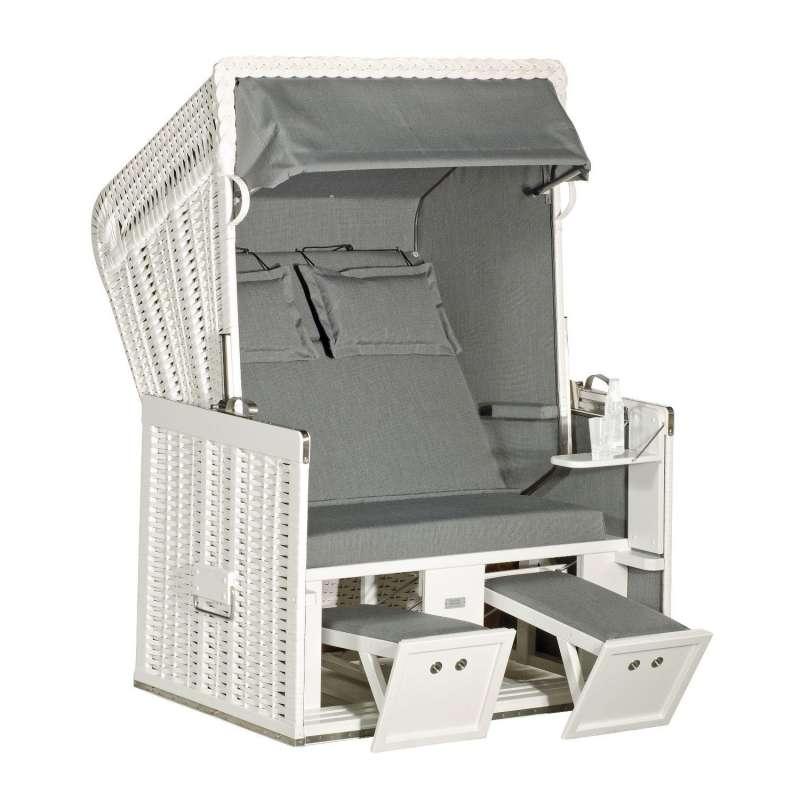 Sonnenpartner Strandkorb Konsul 2-Sitzer Halbliegemodell weiß/grau mit 2 Komfortkopfkissen