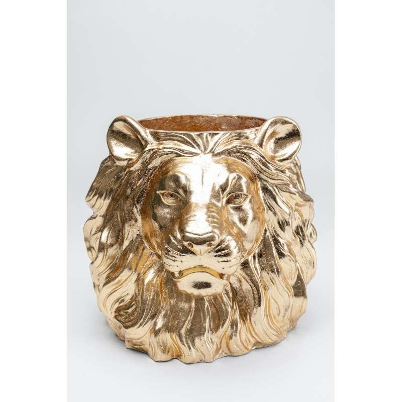 KARE Design Deko Übertopf Lion Löwe Gold handgefertigt und handbemalt 51895
