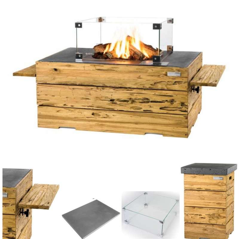Happy Cocooning Mania Feuertisch Komplettset 19,5 kW rechteckig 107x80x45 cm Teakholz Driftwood/grau