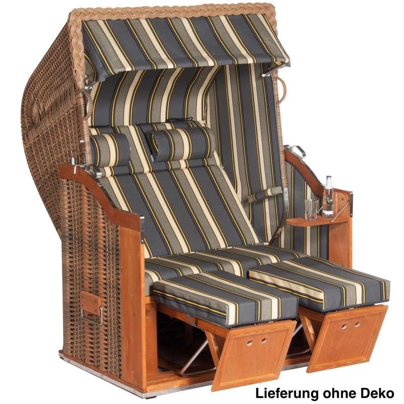 Sonnenpartner Strandkorb Classic 2-Sitzer Halbliegemodell marone/anthrazit mit Sonderausstattung