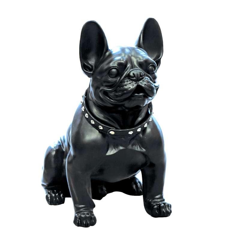 Casablanca Figur Bulldog sitzend Dekoration schwarz mit Nietenhalsband 42,5 cm