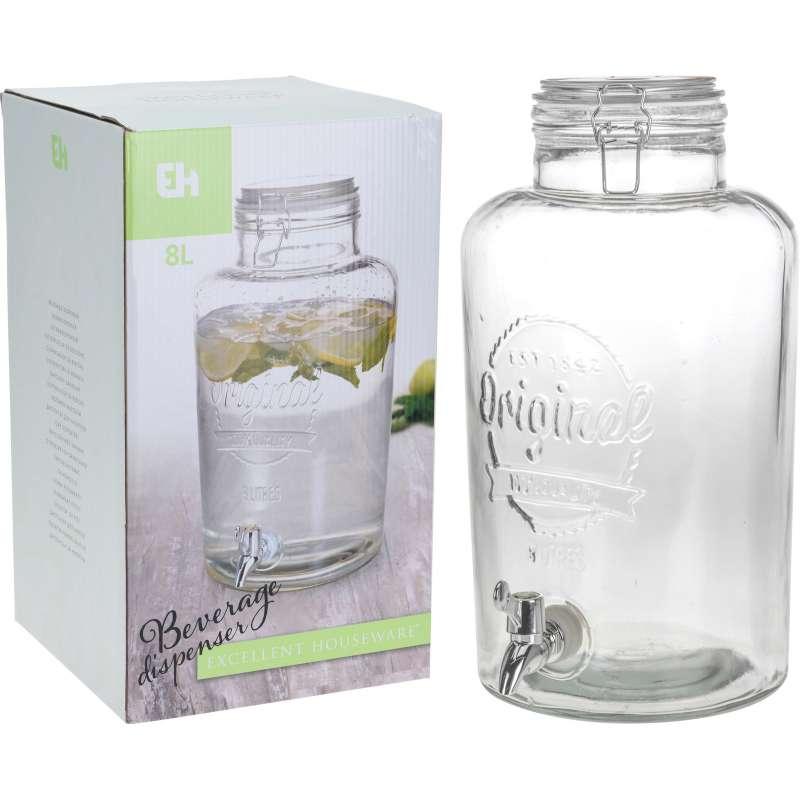 Getränkespender aus Glas mit Zapfhahn für Warm- und Kaltgetränke 8 Liter