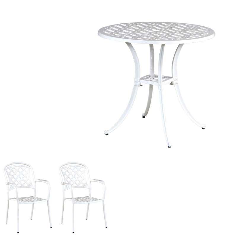 Inko Tisch-Set 1 Tisch 80x74cm rund 2 Sessel Aluminium Guss weiss Variante wählbar