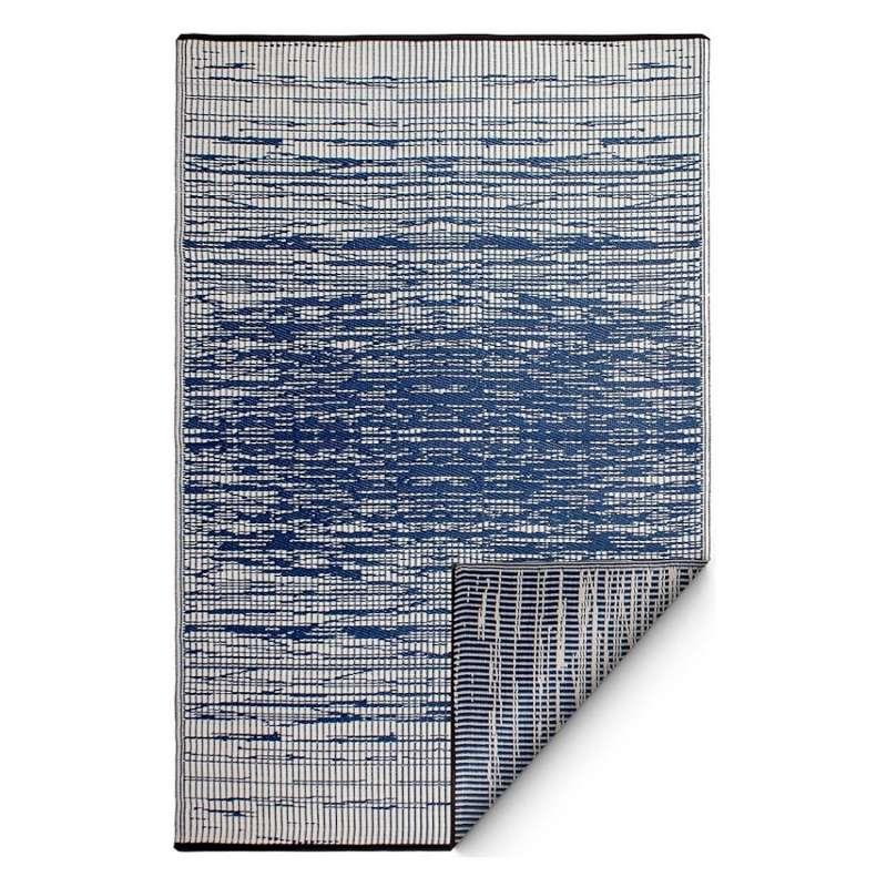 Fab Hab Outdoorteppich Brooklyn Blue aus recyceltem Plastik blau/weiß wetterfest 90x150 cm