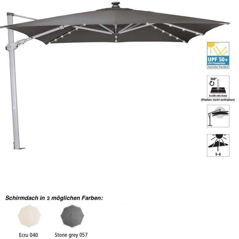 GLATZ Sonnenschirm SUNCOMFORT® Varioflex Solar 300 x 300 cm Stoffklasse 1 stone grey 057