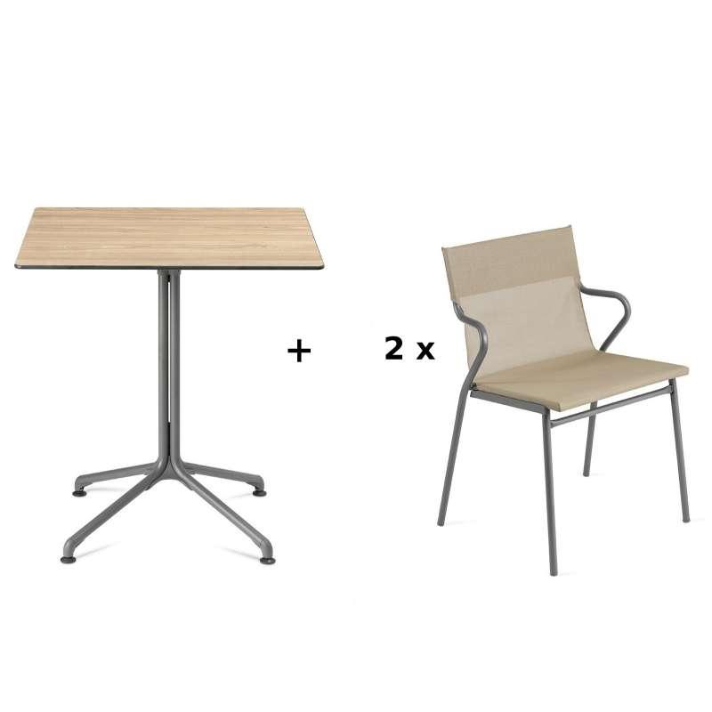 Lafuma Horizon Tisch-Set Loungetisch 70 x 70 cm inkl. 2 Loungestühle Noisette