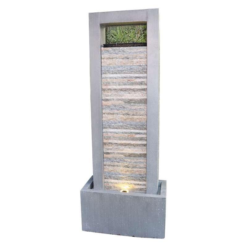 Granimex Prado Zink/Schiefer Naturstein-Wasserwand Pumpe LED-Beleuchtung Wasserspiel 122x48x23 cm