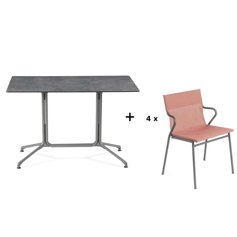 Lafuma Horizon Tisch-Set Loungetisch 115x70x74,5 cm Mineral 4 Stühle Terre Cuite