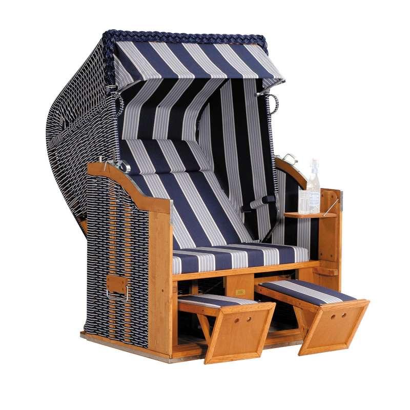 Sonnenpartner Strandkorb Classic 2-Sitzer Halbliegemodell blau/grau Ostseestrandkorb
