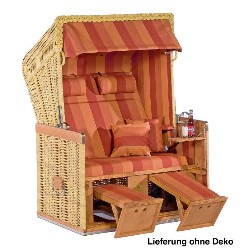 Sonnenpartner Strandkorb Konsul 2-Sitzer Halbliegemodell natur/terracotta mit extra Kissen