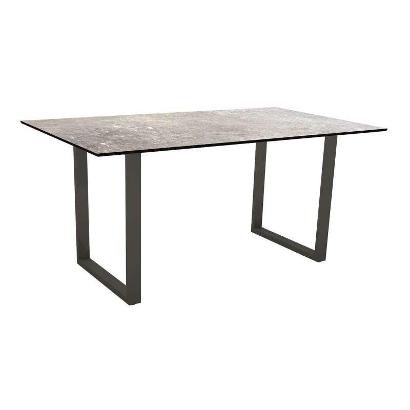 Stern Kufentisch 160x90 cm Aluminium anthrazit/Silverstar 2.0 Vintage stone Gartentisch Tisch