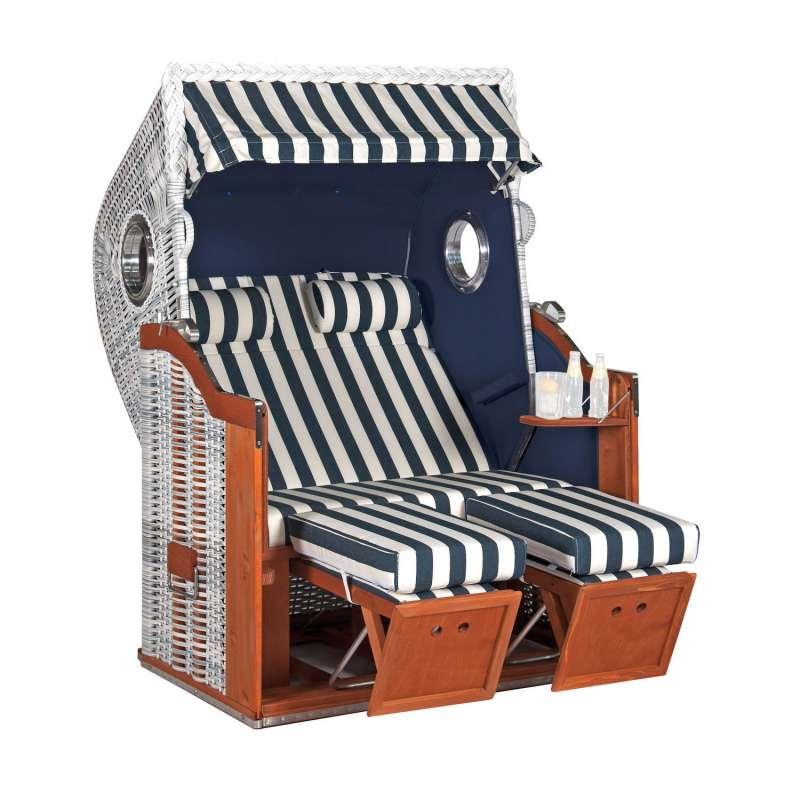 Sonnenpartner Strandkorb Classic 2-Sitzer Halbliegemodell azur/weiß mit Bullaugen