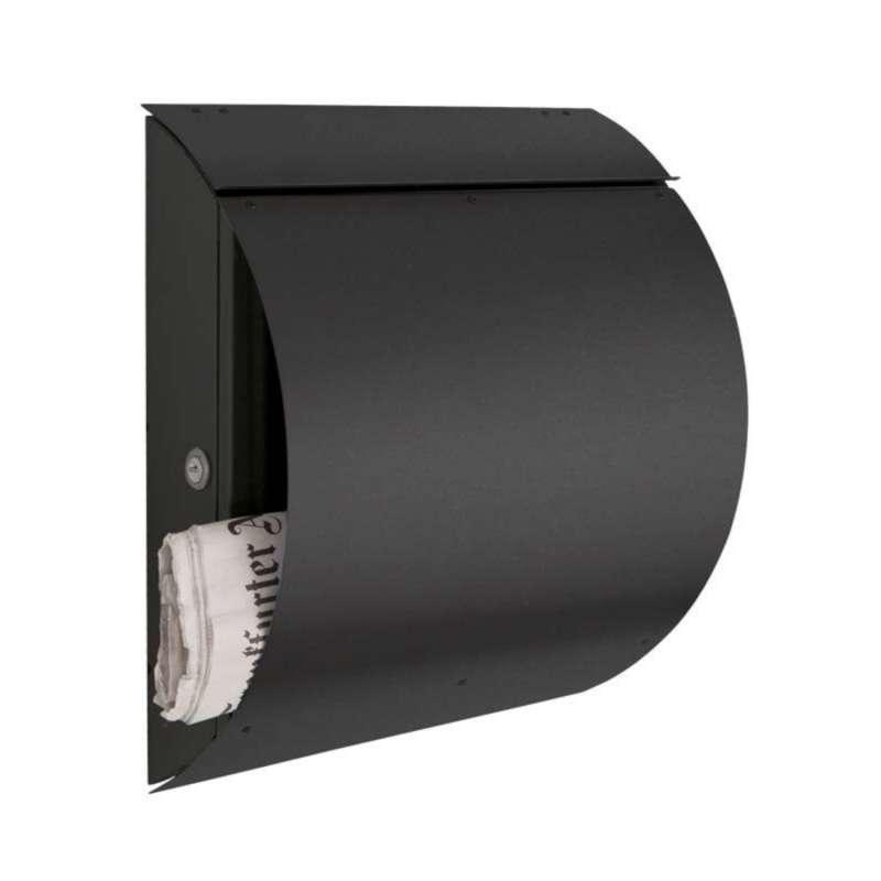 Heibi Briefkasten mit Zeitungsfach gewölbt Edelstahl graphitgrau 37,5x17x43 cm DIN C4 quer