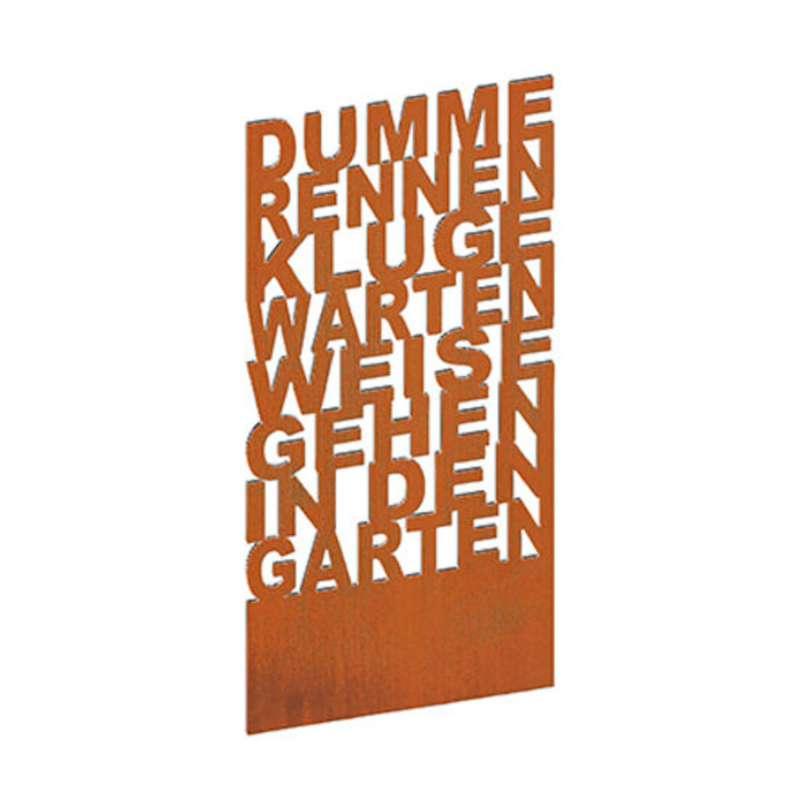 Mecondo TEXTURA Stele 'Weise gehen in den Garten' 100x230 cm Corten/Edelstahl Gartendekoration