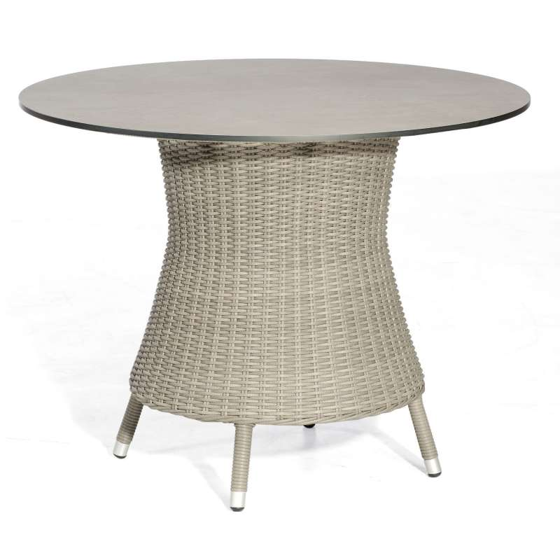 Sonnenpartner Gartentisch Base rund Ø 100 cm Aluminium mit Polyrattan stone-grey Tischsystem mit wäh