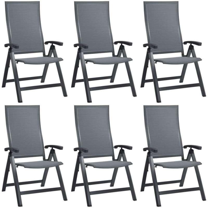 Stern 6er-Set Klappsessel Kari Aluminium anthrazit/Textilen karbon Gartenstuhl Hochlehner