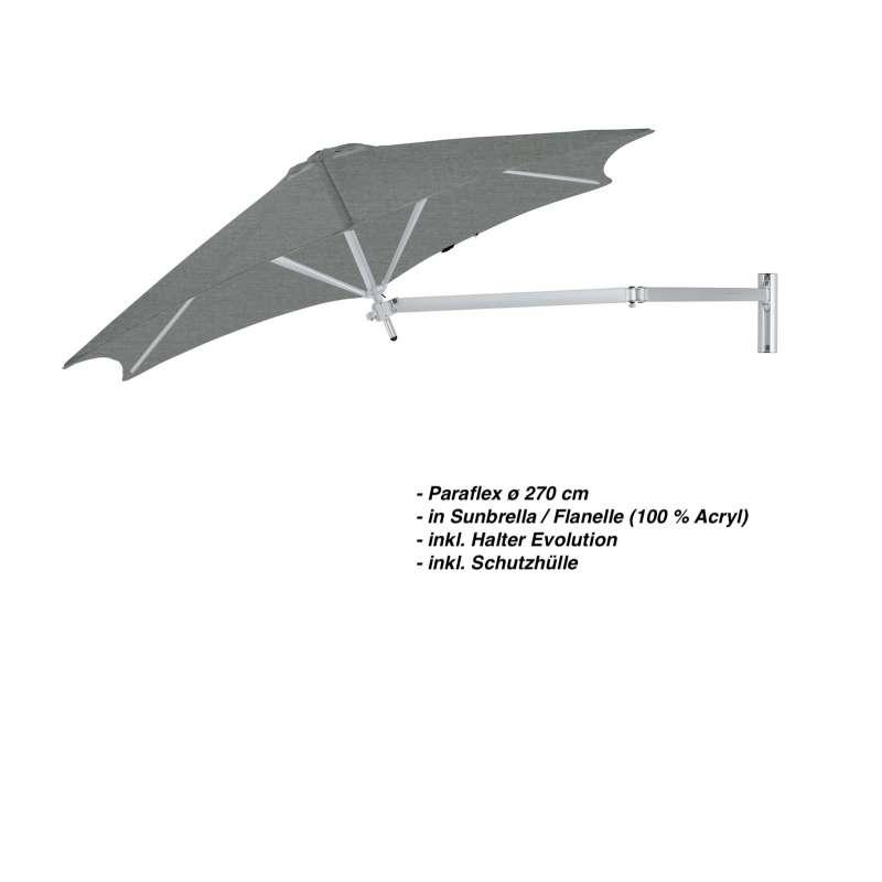 Umbrosa Paraflex ø 270 cm Sonnenschirm Komplettset inkl. Halterung Flanelle Wandschirm