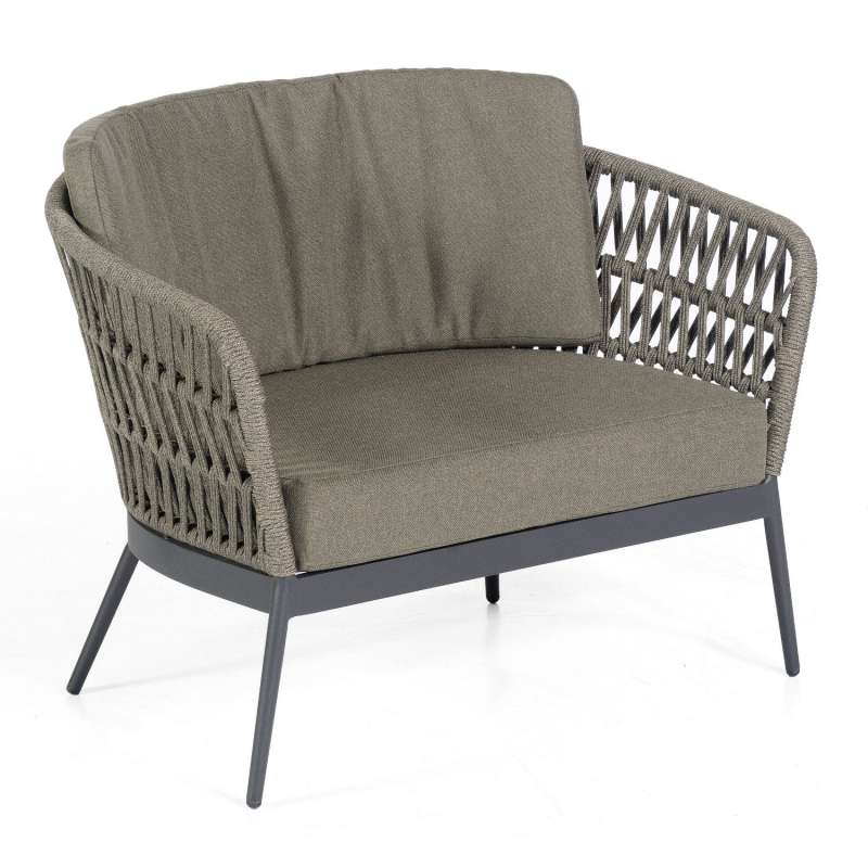 Sonnenpartner Loungesessel Advokat Aluminium mit Polyrope grau Relaxsessel Garten-Sessel