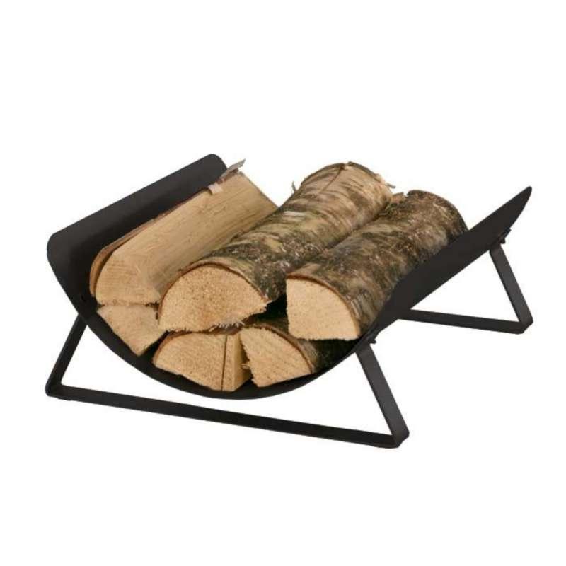 Heibi Holzkorb aus pulverbeschichtetem Stahl schwarz glimmer 38x41x16,5 cm