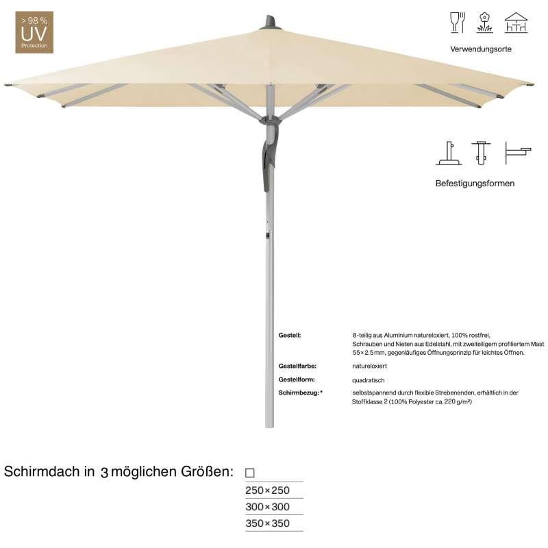 GLATZ Sonnenschirm FORTERO® easy quadratisch 250 x 250 / 300 x 300 / 350 x 350 cm Eggshell 150