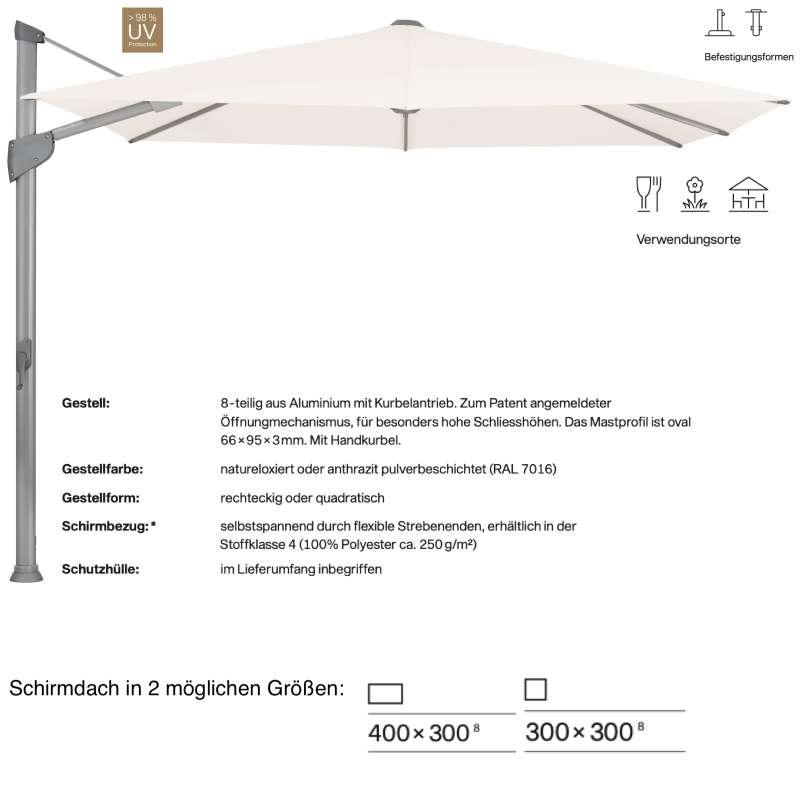 GLATZ Sonnenschirm FORTANO® Ampelschirm 300 x 300 / 400 x 300 cm Freiarmschirm Vanilla 453