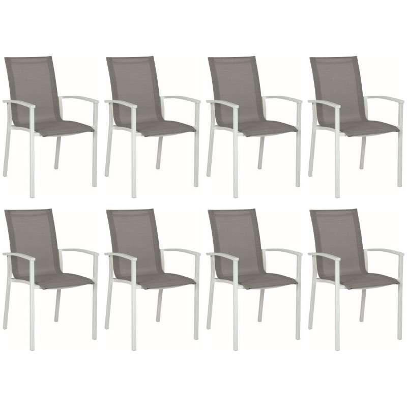 Stern 8er-Set Stapelsessel Evoee Aluminium weiß/silber Gartenstuhl Stapelstuhl