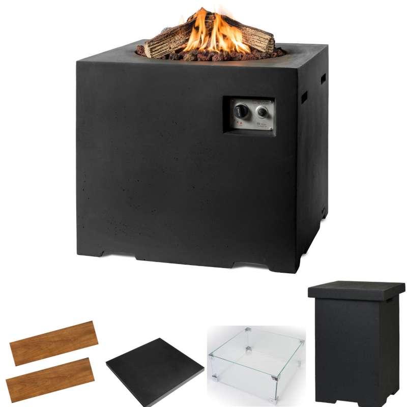 Happy Cocooning Mania Feuertisch Lounge&Dining Komplettset 19,5 kW quadratisch 76x76x67 cm Beton-Opt