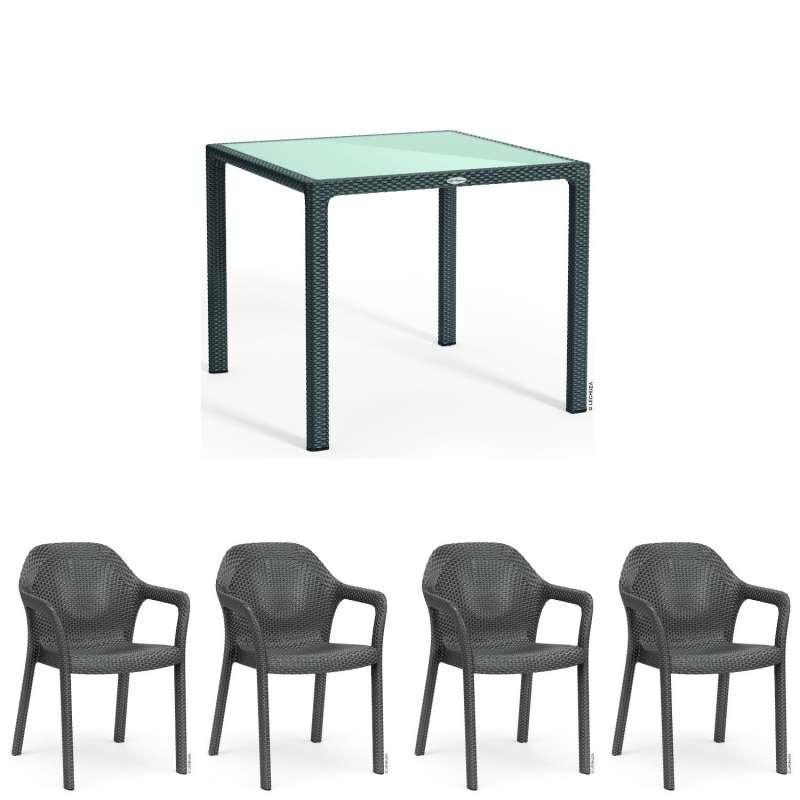 Lechuza 5-teilige Sitzgruppe Flechtstruktur granit Gartentisch Glasplatte 90x90 cm 4 Stapelstühle
