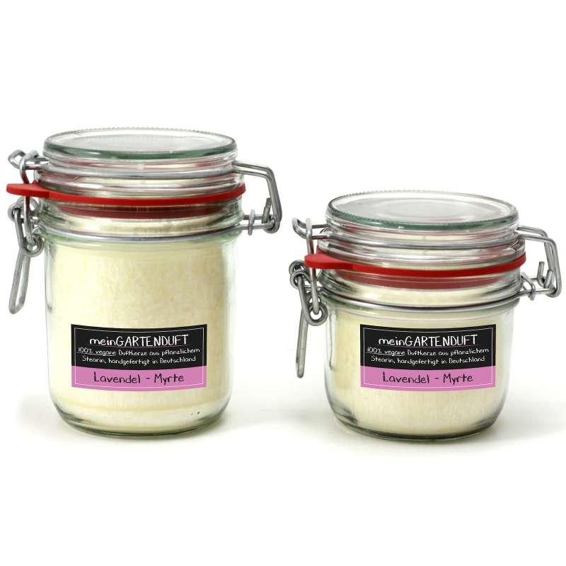 Candle Factory meinGartenduft Kerzenset Lavendel-Myrte Drahtbügelglas
