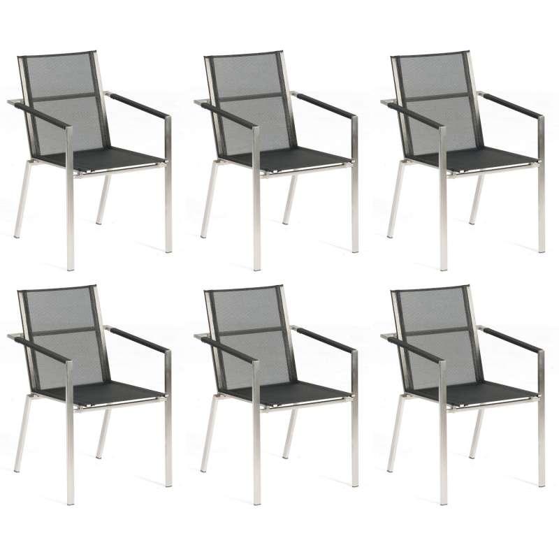 Sonnenpartner 6er-Set Stapelstühle Platinum Edelstahl mit Textilen schwarz Stapelsessel Stapelstuhl
