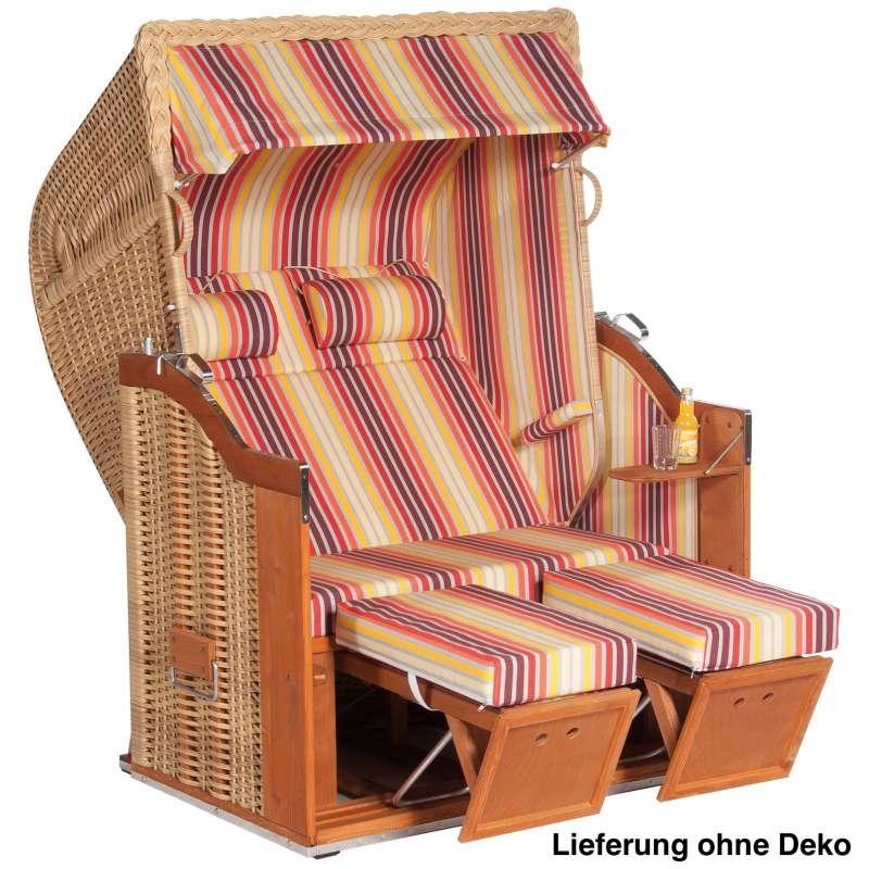 Sonnenpartner Strandkorb Classic 2-Sitzer Halbliegemodell natur/bunt mit Sonderausstattung