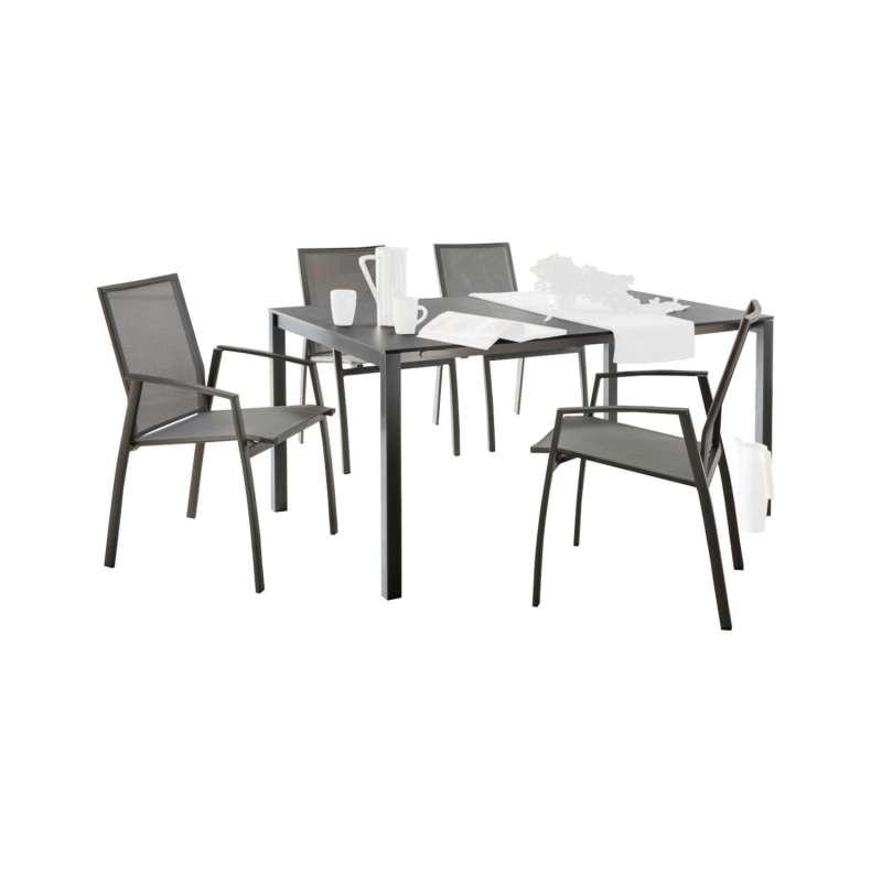 SIT Mobilia 5-teilige Sitzgruppe Etna Alpha & Argentina Aluminium eisengrau/HPL/silber Tisch 160x95