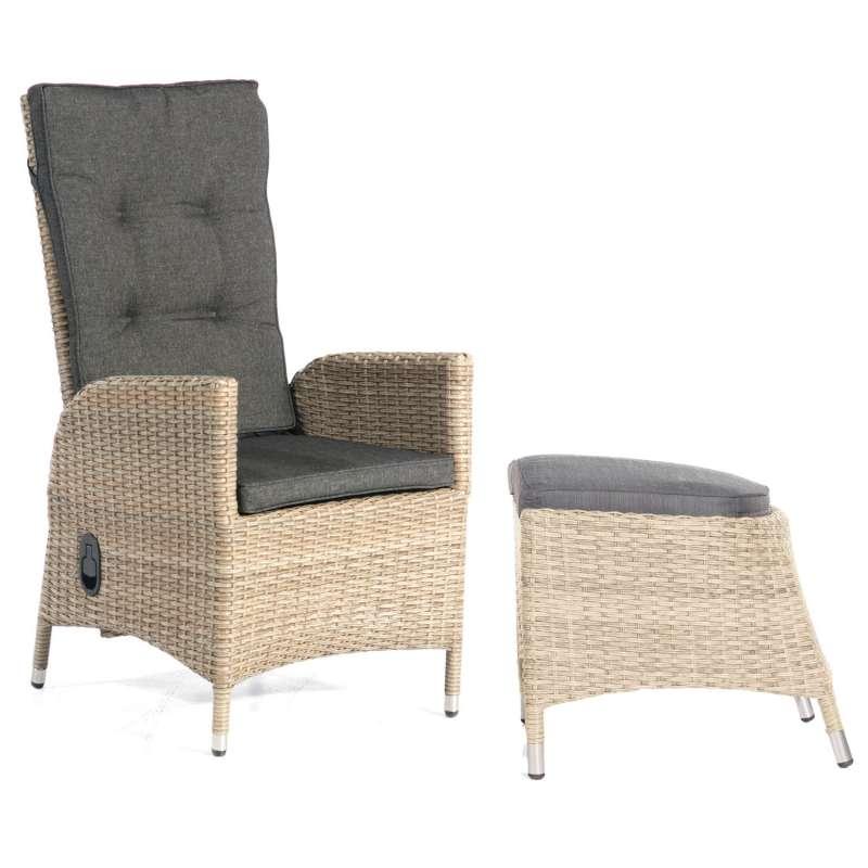 SunnySmart Dining-Sessel Para-Basic mit Fußhocker Aluminium mit Kunststoffgeflecht sandstone Gartens