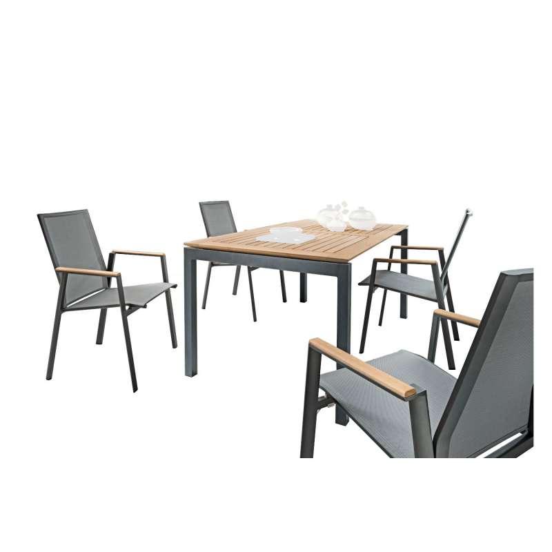 SIT Mobilia 5-teilige Sitzgruppe Etna Alpha & Merlo Aluminium eisengrau/Teak/silber Tisch 160/220x95
