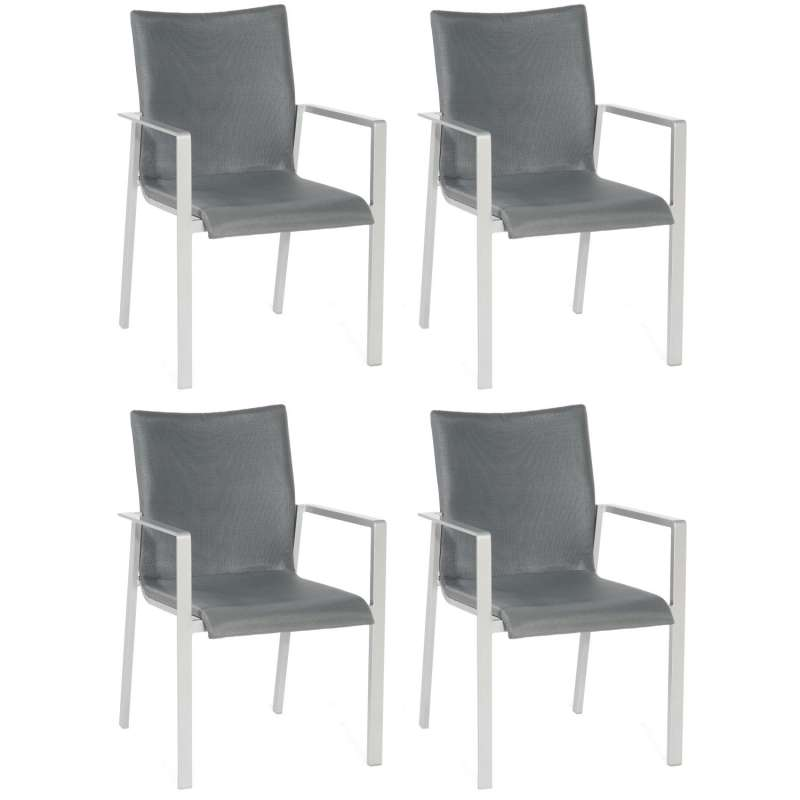 Sonnenpartner 4er-Set Stapelstühle West Aluminium mit Textilen silber Stapel-Sessel Stapelstuhl