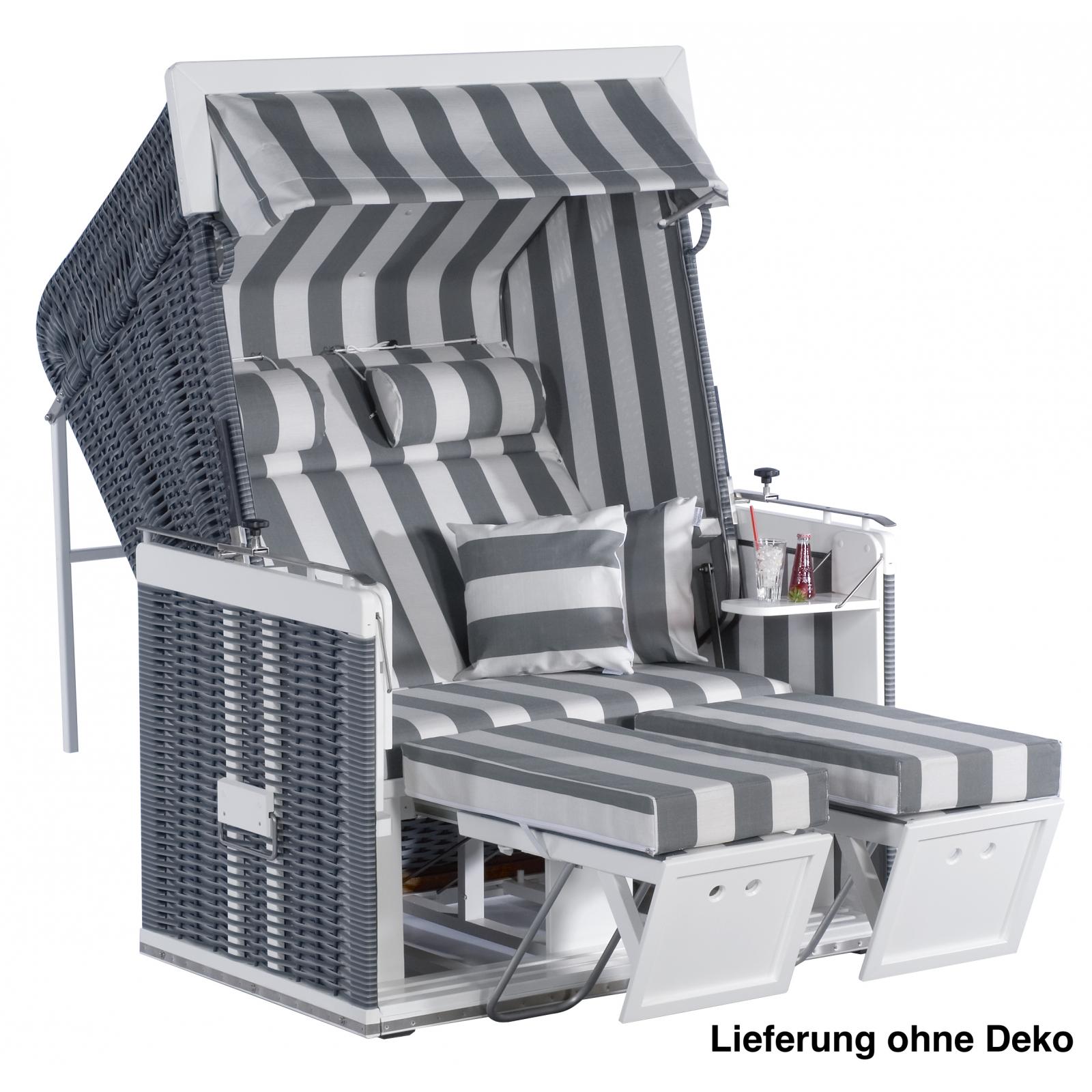 sonnenpartner strandkorb pr sident 2 sitzer liegemodell geflecht onix grau ebay. Black Bedroom Furniture Sets. Home Design Ideas