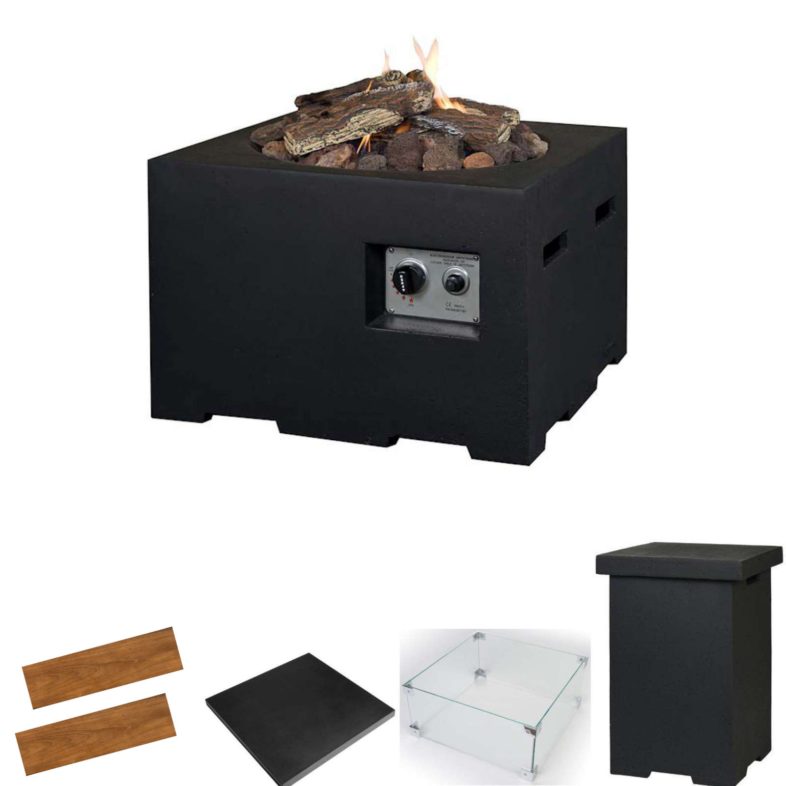 Happy Cocooning Feuertisch Gartenfeuer schwarz 60 x 60 x 40 cm HC131008A