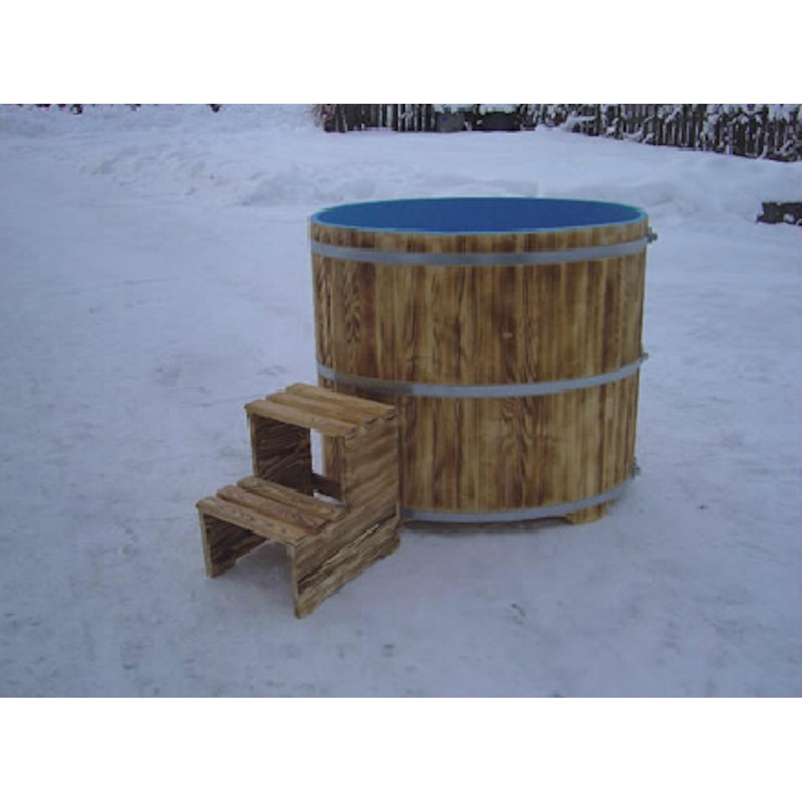 Sauna Tauchbecken Aus Fichtenholz Außen Geflammt Innen Blau
