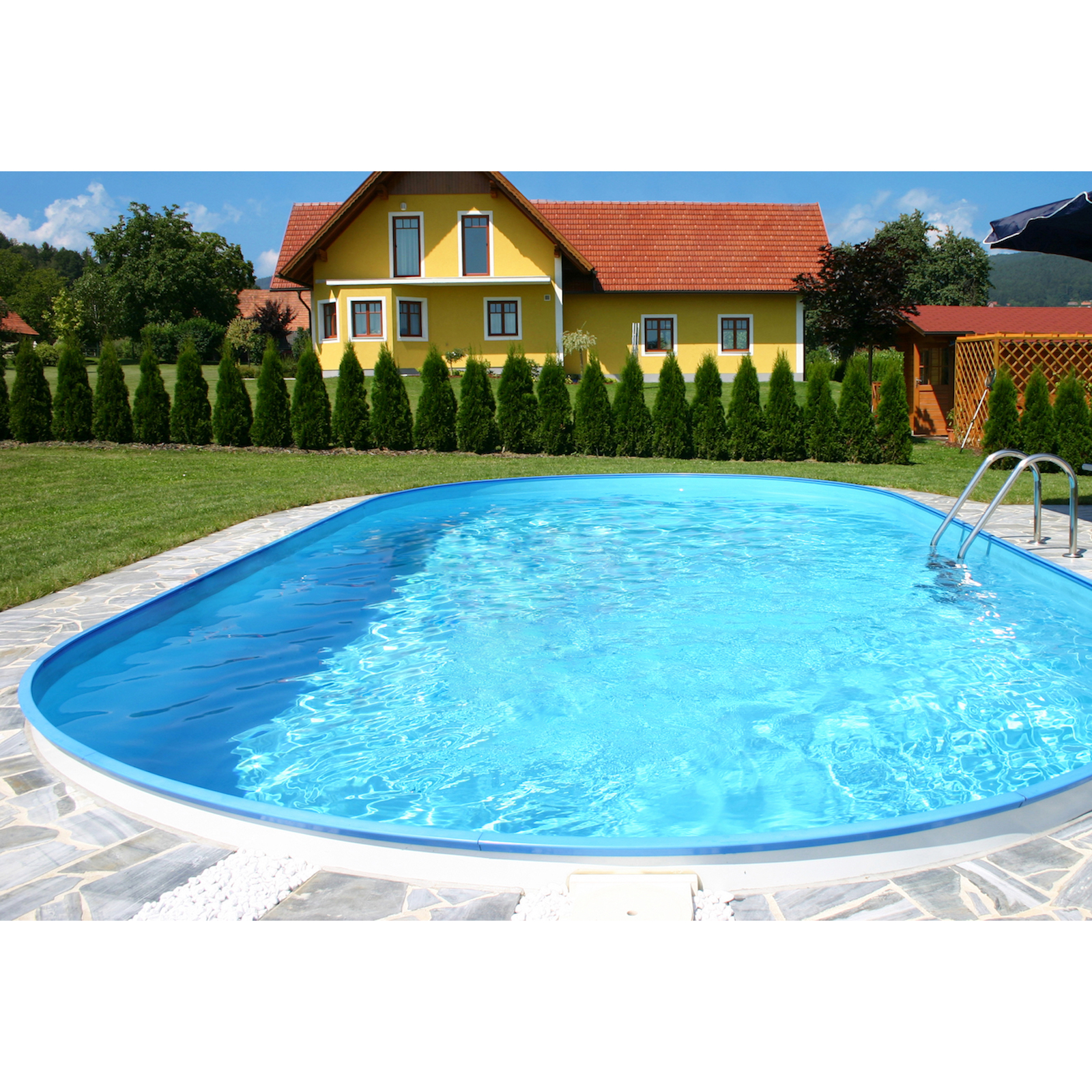 pool schwimmbecken oval stahlwand 4 gr en h he 150 cm swimmingpool ebay. Black Bedroom Furniture Sets. Home Design Ideas