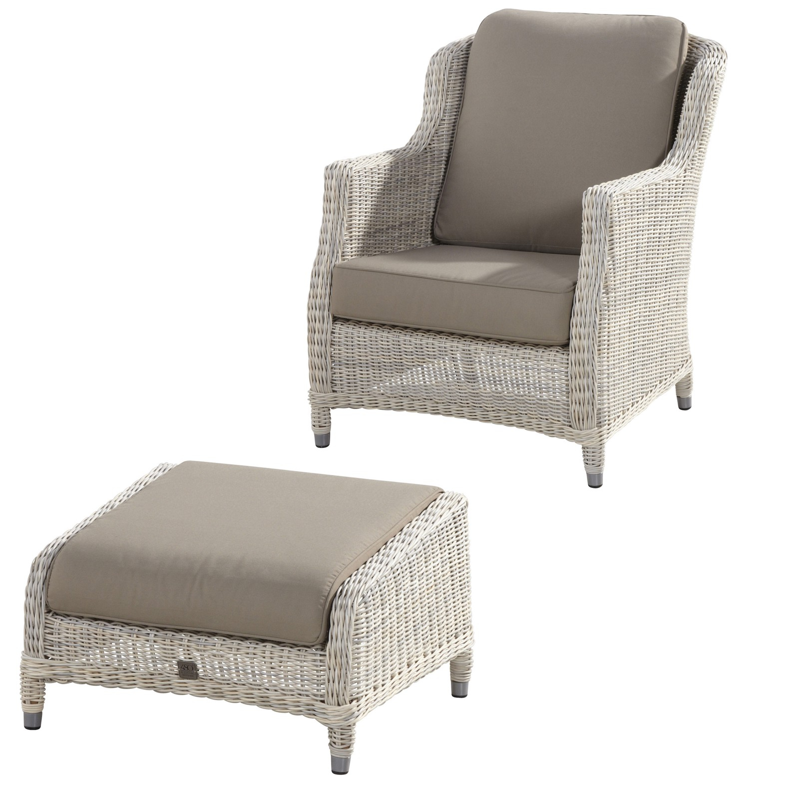 4Seasons Outdoor Brighton living Sessel mit Fußhocker Polyrattan ...