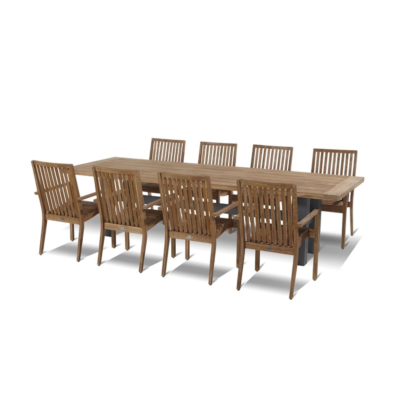 Hartman Gartenmöbelset 9teilig Tisch Teak/Alu 300x100 cm inkl Stühle ...
