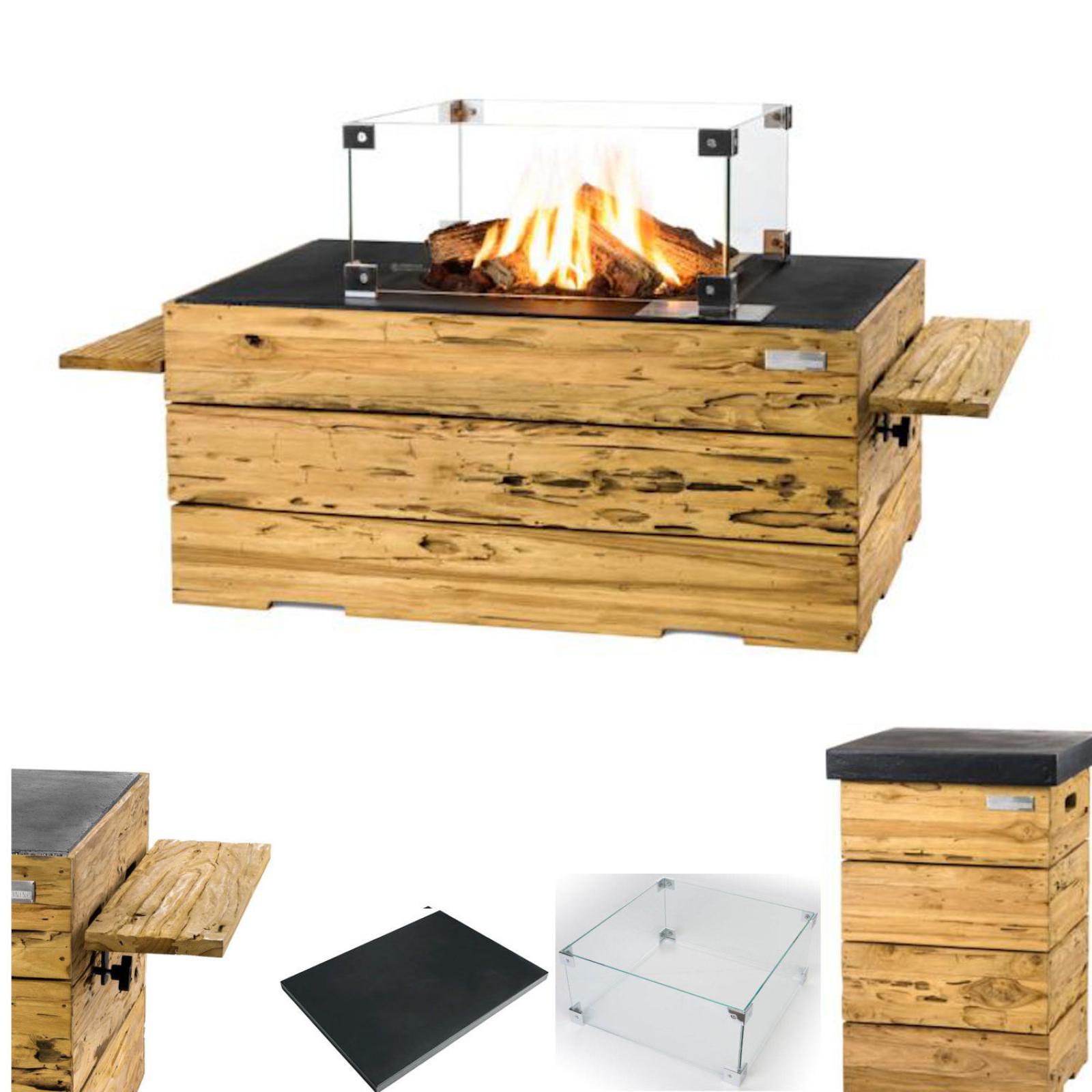 Happy Cocooning Mania Feuertisch Driftwood schwarz Komplettset 107x80x45 cm