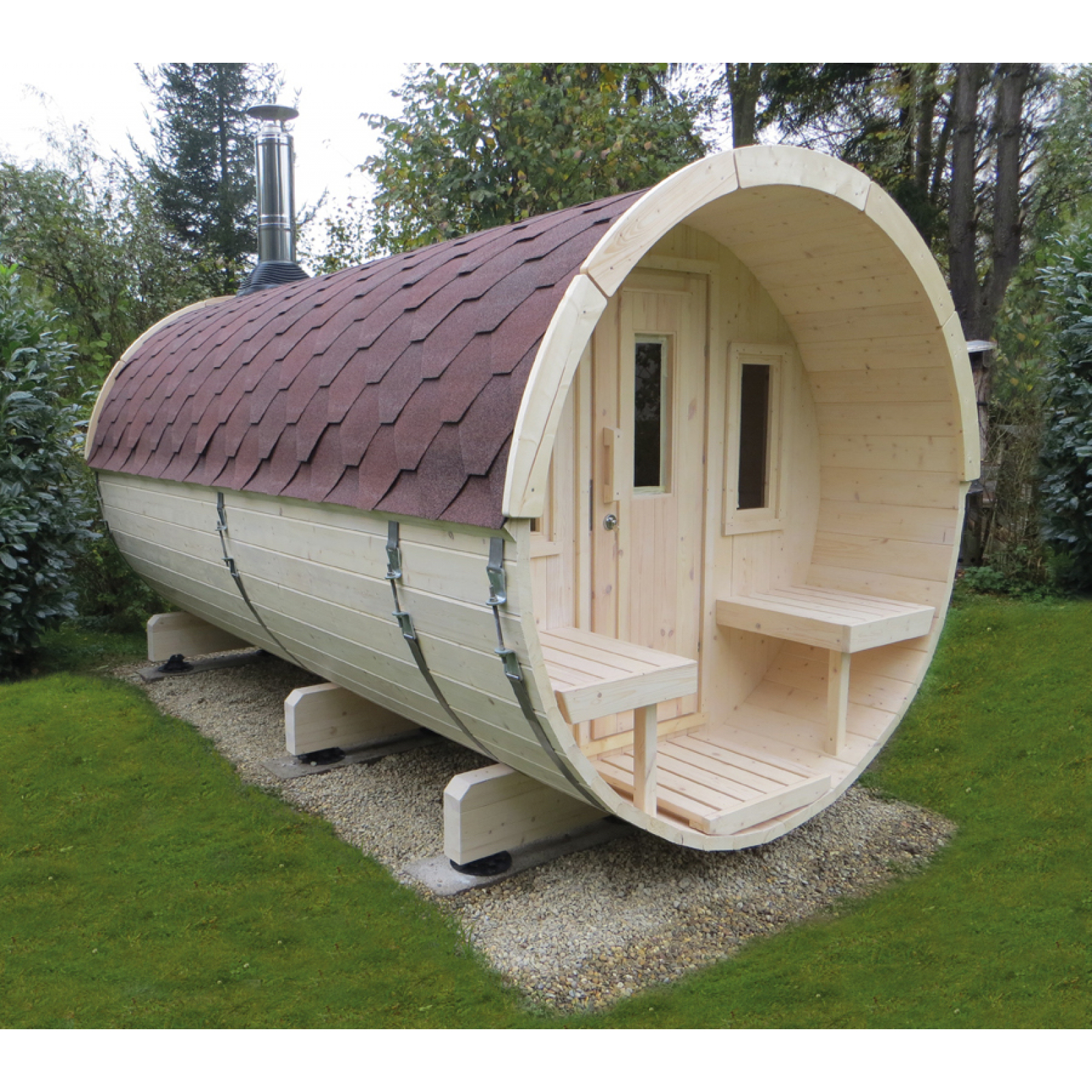 wolff finnhaus saunafass 400 fichte 42 mm naturbelassen. Black Bedroom Furniture Sets. Home Design Ideas